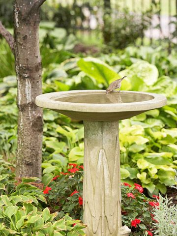 Natural look: Birdbaths Buy, Backyard Landscape, Birdbaths Lik, Backyard Habitats, Birds Bath, Birdbaths Just, Backyard Wildlife, Feathers Friends, Wildlife Habitats