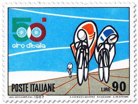 Italian postage stamps designed by E. Consolazione, R. Cuzzani, and A. de Stefani, 1967 to commemorate the 50th anniversary of the Giro d'Italia cycling championship.