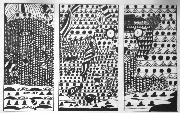 Line Triptych project, Art Foundations 11 by Ana.