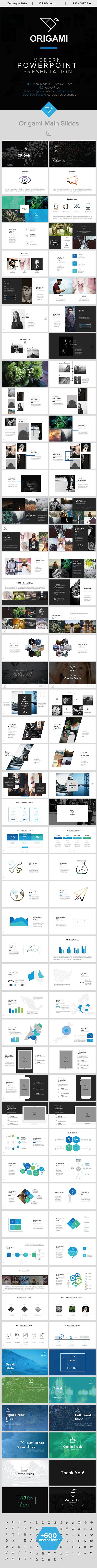 1763 best powerpoint template images on pinterest font logo a origami minimal powerpoint template toneelgroepblik Images