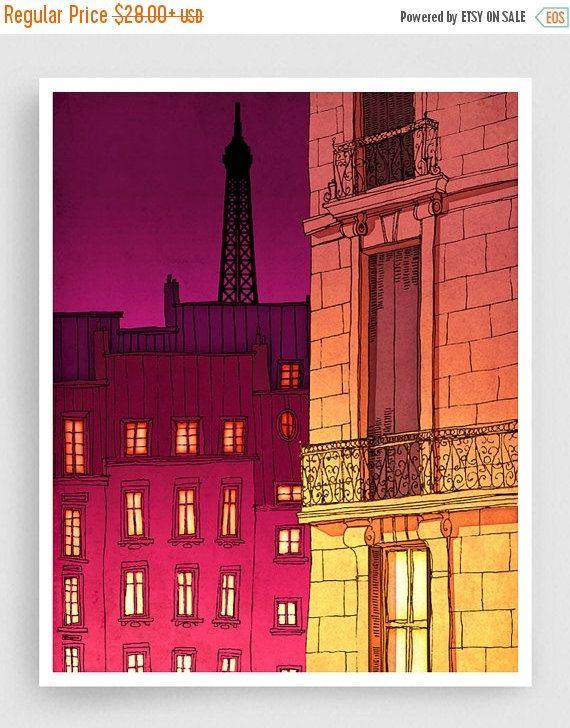 15% OFF SALE: Paris illustration  Paris windows night by tubidu