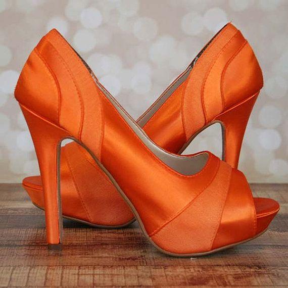 Orange Wedding Shoes Orange Platform by EllieWrenWeddingShoe