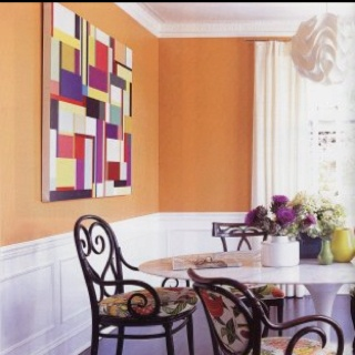 Liking This Fun Orange Dining Room And Classy Wainscoting Combo