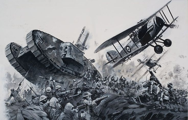 world war 1 biplane art | 1918 German Advance World War I (Original) art by Graham Coton