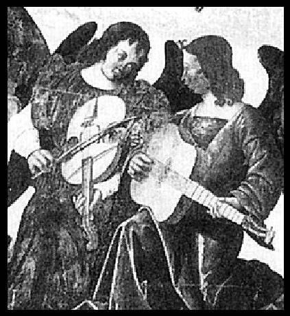 plucked vihuela and 4 string vihuela de arco / viola da braccio, aka bowed guitar (that's not a violin, I don't believe). This instrument is too early, c.1500-1510 (Fresco, anon, Ferrara Italy), and too big, to be a violin.