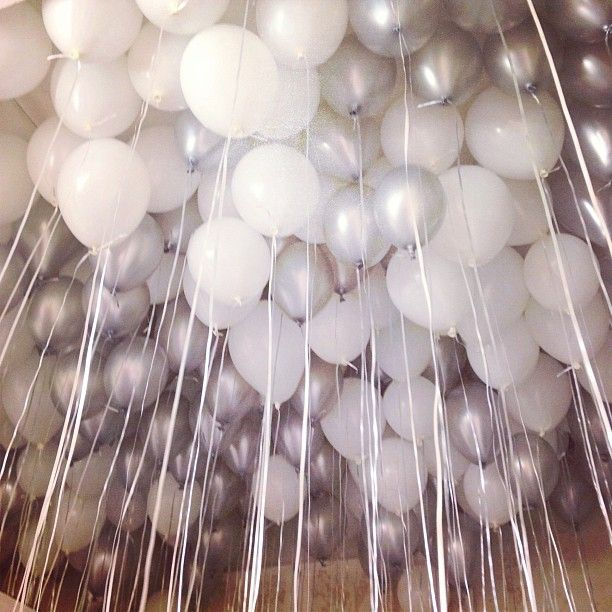 white and silver festive balloons