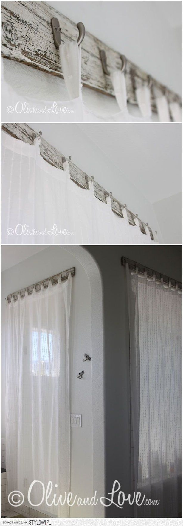 I like these ideas for curtain hangers in the mancave and then we can just tie them back on the sides if we want to let light in.
