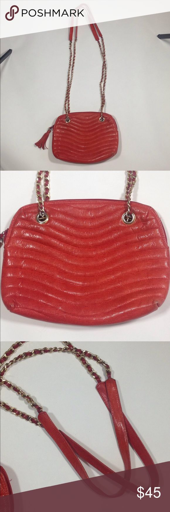 Pierre Lambert made in Italy vintage bag Beautiful trendy shoulder bag. Made in Italy 100% leather. Gold hardware. 11 inches wide. 8 1/2 inches tall. 2 inches deep. Chain is long enough to also use as cross body. Good condition red color.  Some wear shown on corners pierre lambert Bags Shoulder Bags