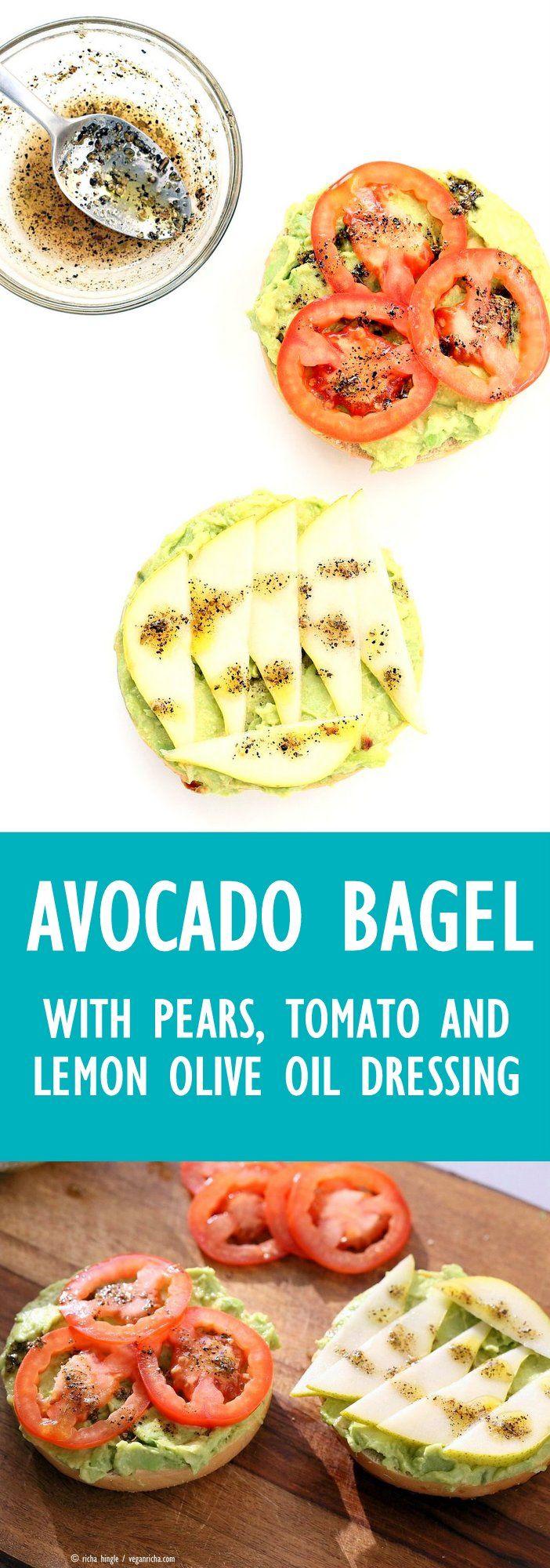 Avocado Bagels with Pears and Tomatoes and Mediterranean Oregano Garlic Olive Oil Dressing Bagel Avocado Toast. Easy Vegan Snack or Breakfast.   VeganRicha.com