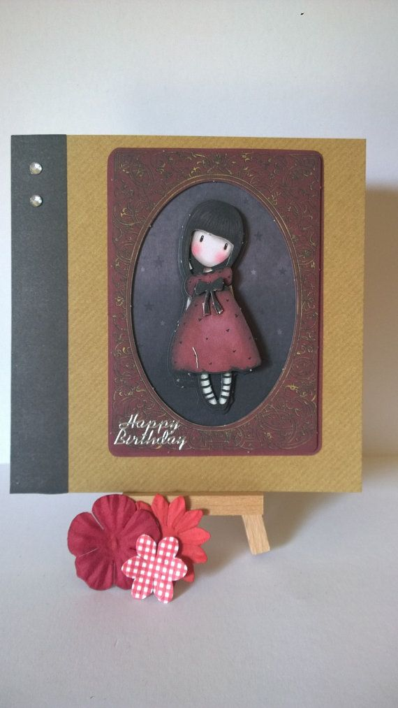 Handmade decoupaged girl in red dress birthday card by Lazymitts