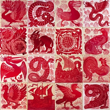 Tiles made by William Frend De Morgan (16 Nov 1839 – 15 Jan 1917), an English potter & tile designer. A lifelong friend of William Morris, he designed tiles, stained glass & furniture for Morris & Co. 1863-1872.