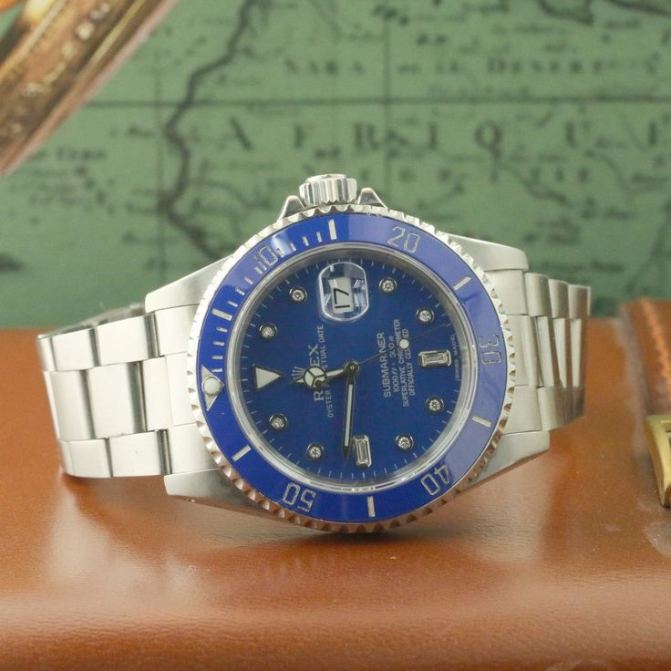 ROLEX 16610 STAINLESS STEEL CERAMIC SUBMARINER DIAMOND BLUE DIAL SPORT WATCH #Rolex #CasualSportWatchDressFormal