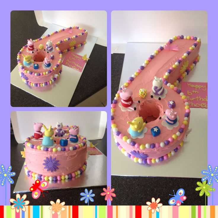 Number 6 Peppa Pig cake