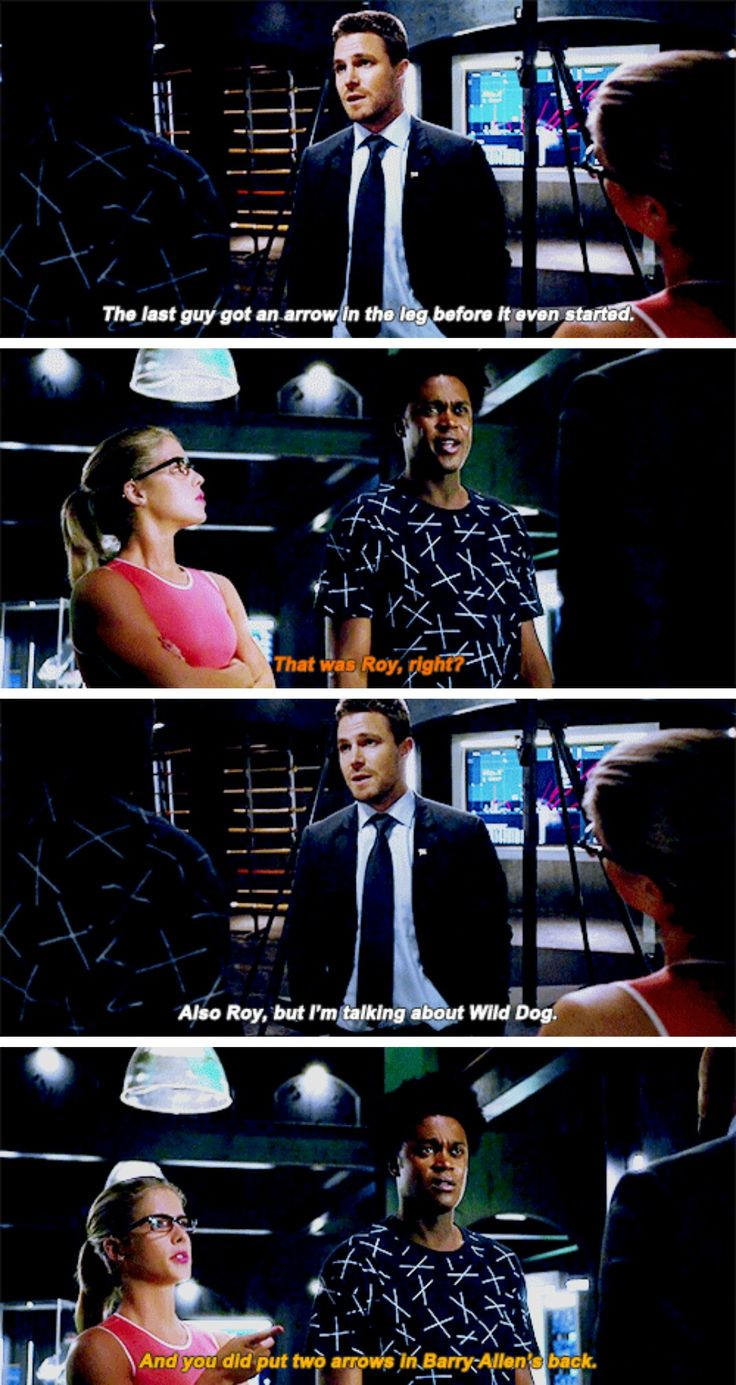 """The last guy got an arrow in the leg before it even started"" - Oliver, Curtis and Felicity #Arrow"