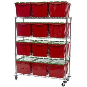 Storage Shelf With Plastic Bins