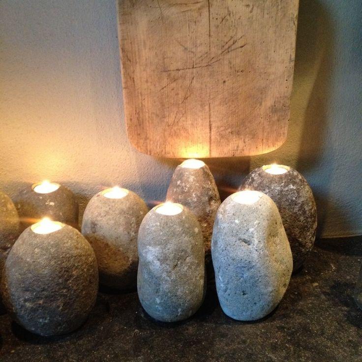 Hele stoere stenen theelichten kei steen