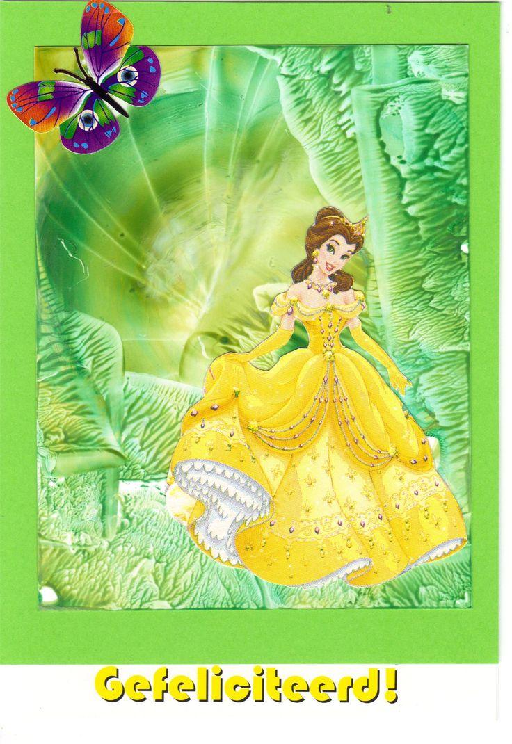 Encaustic verjaardagskaart met prinsessen plaatje
