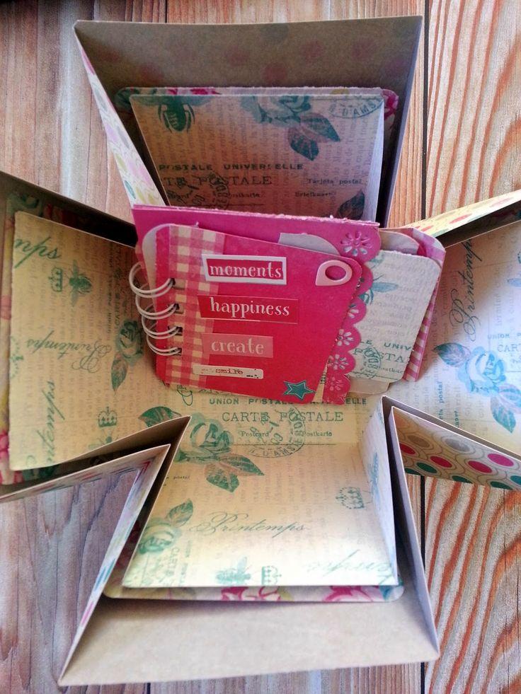 Mini en caja de la mano de El scrap de Pe #scrapbooking #explodingbox #minialbum #flourish #authentiquepaper