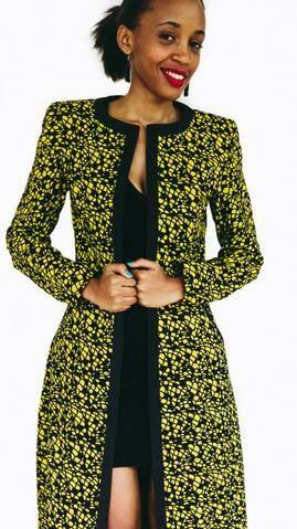 Collarless slim african print max coat – Marie- Claudine  Mukarugwiza