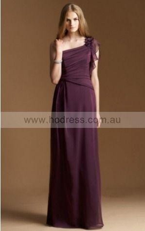 Chiffon One Shoulder Empire A-line Floor-length Bridesmaid Dresses 0740125--Hodress