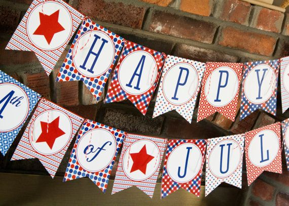 4th of July Printable Banner Patriotic Red White by thelovelyapple, $6.00