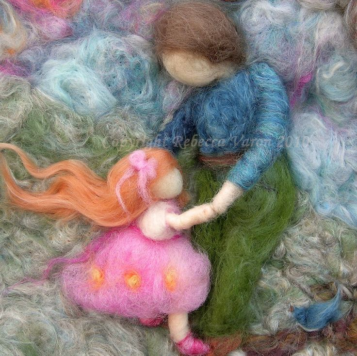 Fiber Art - First Dance- Needle Felted Wall hanging /sculptural wool painting Waldorf inspired - LOVE the art form - artist Rebecca Varon