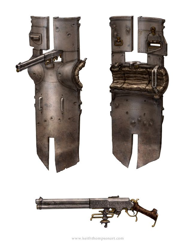 Devices: Gunner Shield    by: Keith Thompson Would be cool idea to use for a sword or spear instead