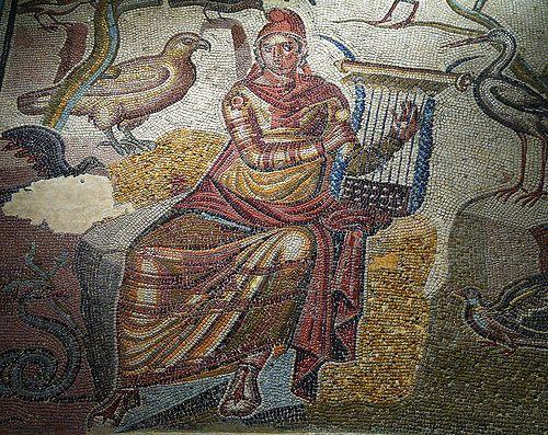 Mosaico de la Casa de Orfeo (Museo de Zaragoza). La domus donde se encontró el mosaico se hallaba situada junto a las murallas de Caesaraugusta