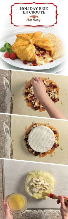 Pepperidge Farm Puff Pastry Holiday Brie En Croute Recipe. This magnificent party appetizer is so delicious yet incredibly easy to make. A wheel of delectable brie cheese is topped with cranberries, apricots and almonds and wrapped in Puff Pastry. It bakes until the pastry crust is flaky and golden and the cheesy center is melted. Serve with crackers and enjoy with a glass of bubbly!  It's an all-time favorite for the holidays, but so good you'll want to serve it year-round.
