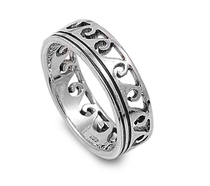 925 Sterling Silver Maori Ocean Wave Ring