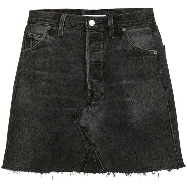 Black cotton Levi's High Waisted mini washed denim skirt from RE/Done. Size: 25. Gender: Female.