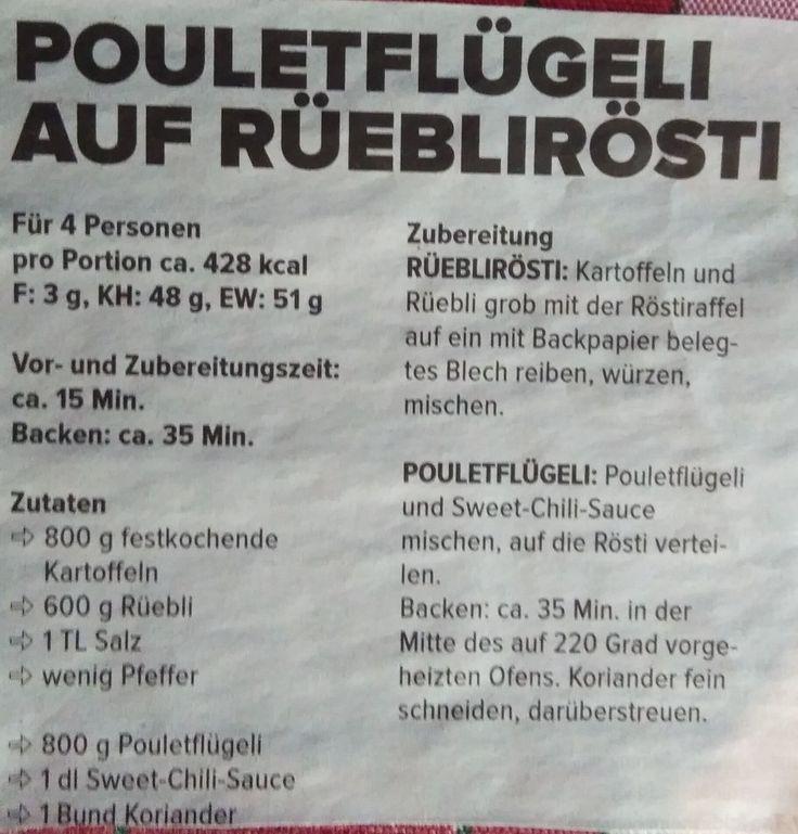 Pouletflügeli auf Rüebli Rösti