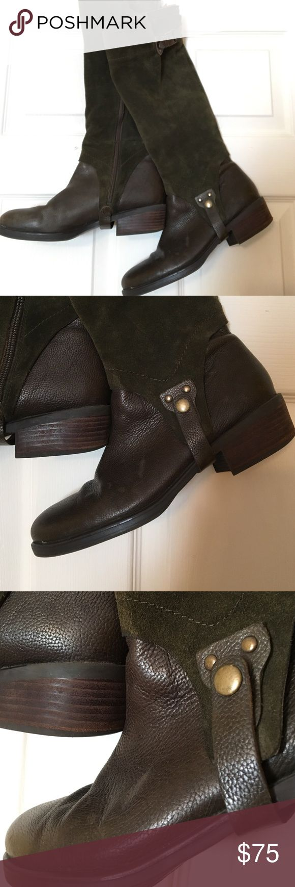 Suede Riding Boots Gorgeous green suede riding boots! Franco Sarto 8.5. Worn once. Lovely fall staple with great detail. Franco Sarto Shoes Winter & Rain Boots