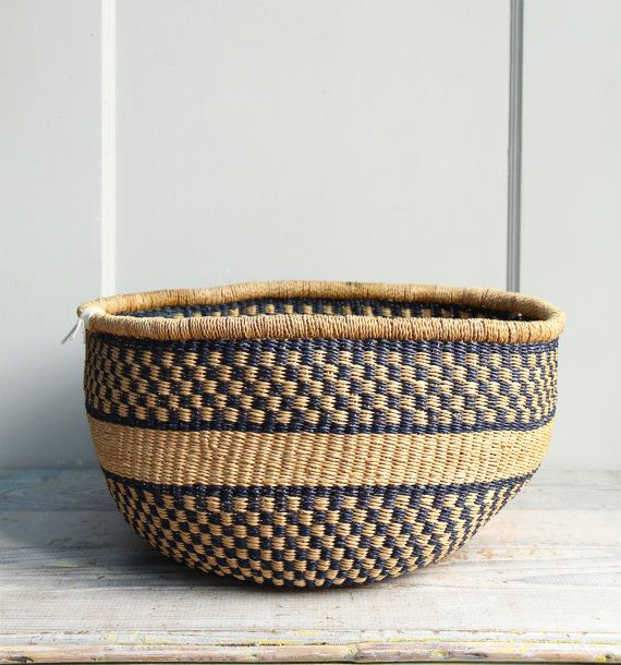 wonderful patterning and tight weave to this handmade vintage basket  deep blue straw color on sand  perfect for toy storage    c o n d i t i o n    some slight fading and wear but no breaks    18 x 15 x 10