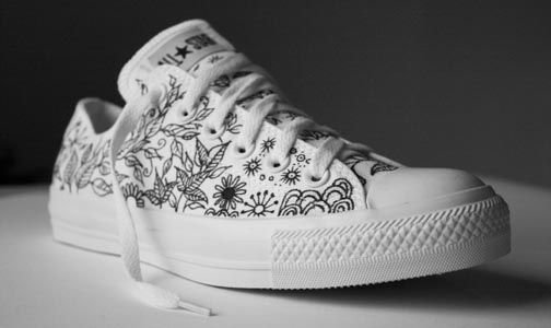 Converse shoe doodled with a black Sharpie marker (gotta get me some of these markers :))