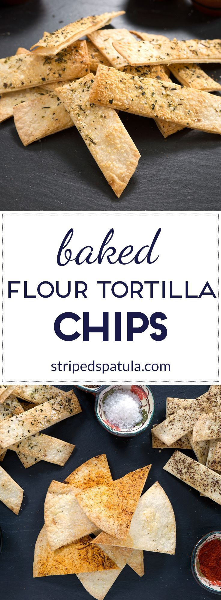 Light, flaky, and crisp, seasoned with a variety of sweet and savory spices, Baked Flour Tortilla Chips are a satisfying low-guilt snack.