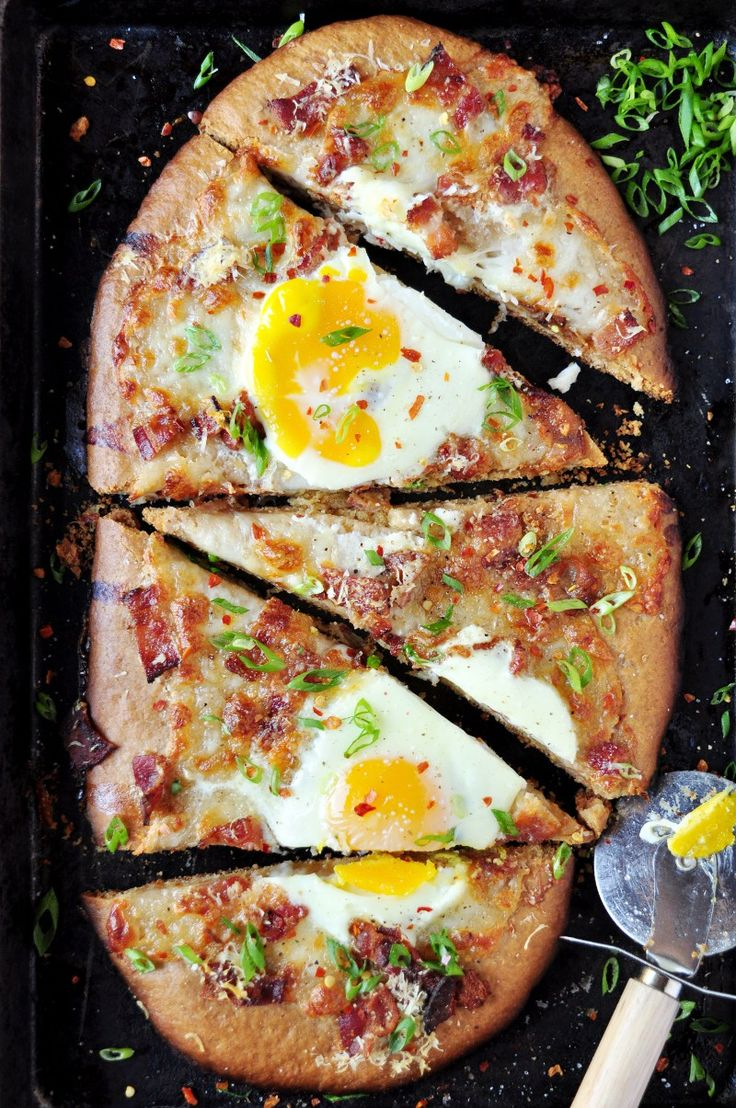 Breakfast Pizza..Uses a pancake mix as the base! - DelishPlan
