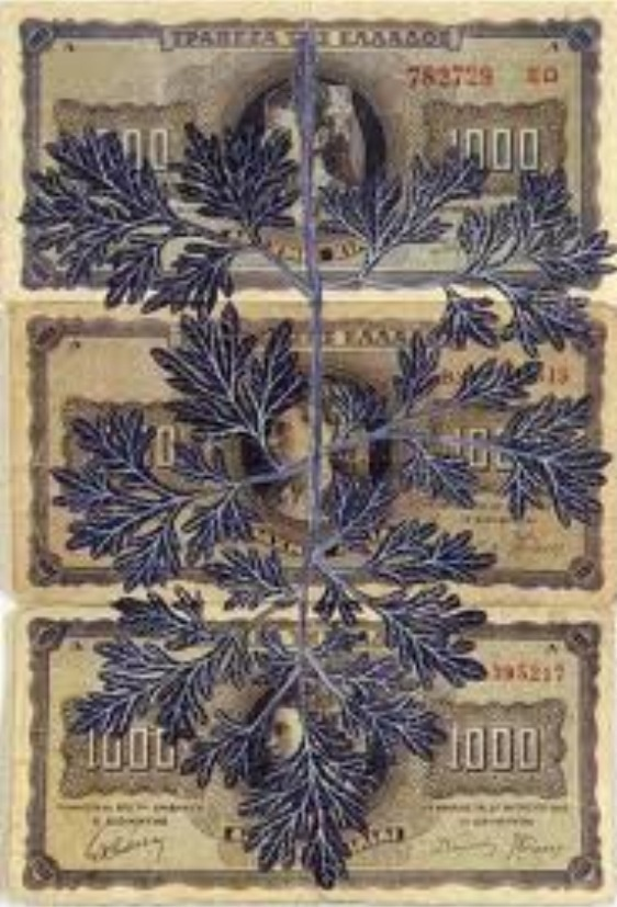 FIONA HALL, Leaf Litter: printed leaves onto money from around the world. Hall has chosen to include species of leaves that have been threatened due to enterprise and the interest of monetary gain.