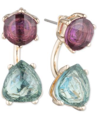 "Look hip and colorful in these on-trend purple and blue stone front and back earrings designed by Anne Klein in gold-tone mixed metal. Approximate drop: 3/4"". 