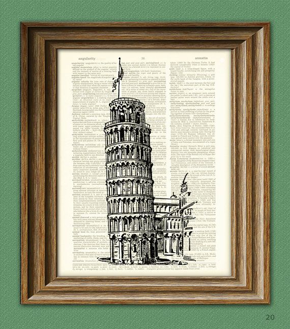 Leaning Tower of Pisa in Italy illustration beautifully upcycled dictionary page book art print 8.5 x 11