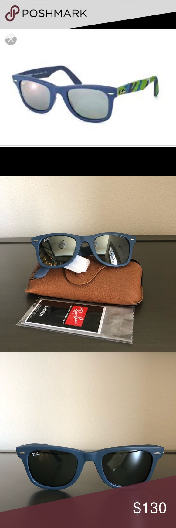 🆕Ray-Ban Wayfarer RB2140 Urban Camouflage 🆕Ray-Ban Wayfarer RB2140 Urban Camouflage NWT brand new, never been worn  Frame: Blue with fabric camo Lens: Gray Silver Mirror Size: 50mm Bridge: 22mm Temple: 150mm Ray-Ban Accessories Sunglasses
