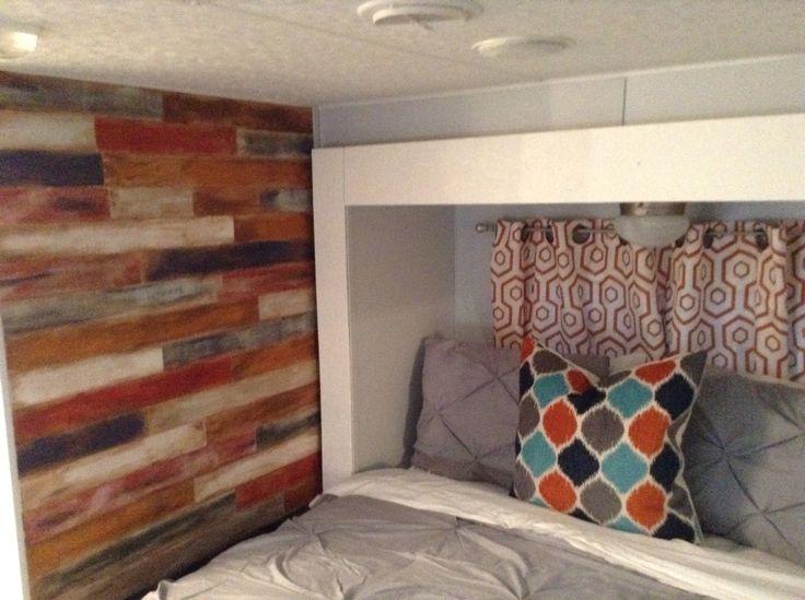 Master Bedroom In Sierra 5th Wheel Toyhauler Remodel Remodel Bedroom Rv Decor Camper Makeover