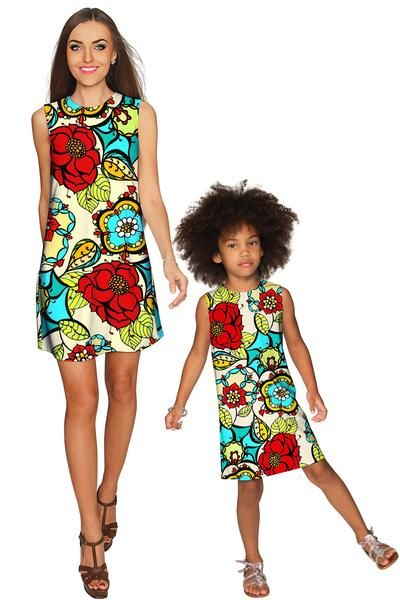 Carnaval Adele Shift Floral Mommy and Me Dress - Pineapple - Mommy and Me Clothing