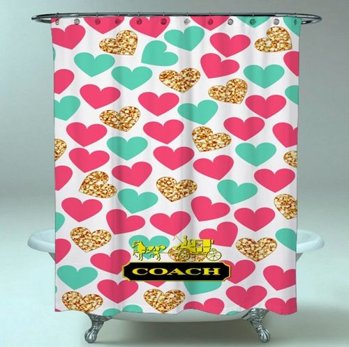 Coach Love Heart Blue Pink Logo meilleure qualité Rideau de douche imperméable   – Shower Curtain Sale