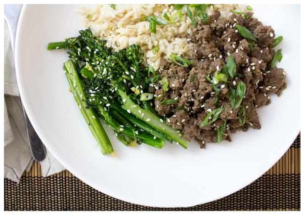 korean style beef with broccolini and brown rice meat recipes asian ...