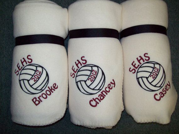 Personalized Volleyball/Sport Blankets on Etsy, $30.00---Excellent quality. I order these for our volleyball team senior night.
