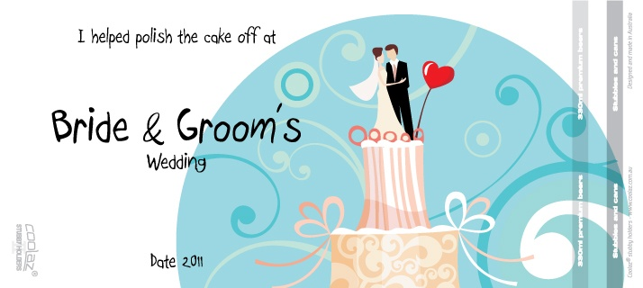 Cute design for your wedding stubby holders [koozies]