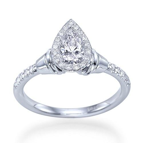 """Castle"" Designer Antique Inspired Bezel Halo Set Pear Shaped Diamond #Engagement #Ring"
