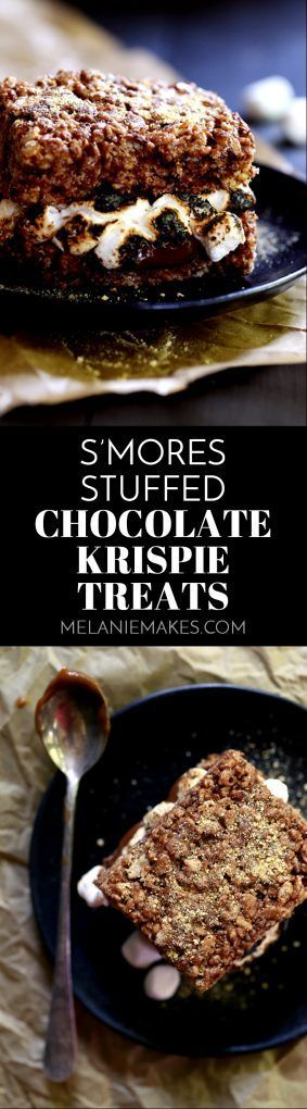 These S'mores Stuffed Chocolate Krispie Treats are the perfect mash-up of two favorite summertime sweets. Thick and chewy chocolate marshmallow treat bars are split in half before being lacquered with chocolate and torched mini marshmallows. The other half of the Rice Krispies treat is plunked on top and then they're sprinkled with a shower of graham cracker crumbs to create the ultimate summer dessert sandwich.
