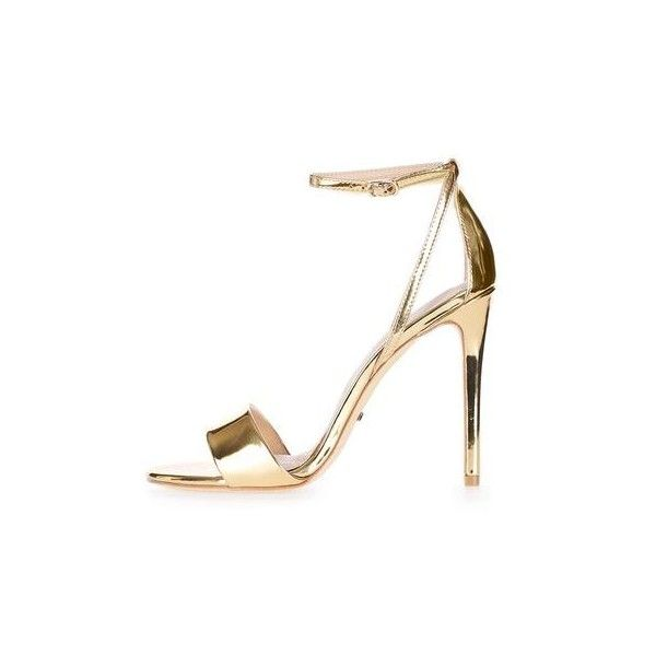 Topshop Raphael Sandals (965 EGP) ❤ liked on Polyvore featuring shoes, sandals, heels, gold, evening shoes, strap heel sandals, strap sandals, wedding shoes sandals and high heel sandals